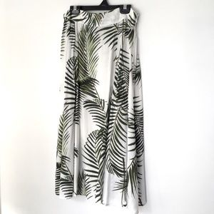 H&M White Hi Rise Circle Skirt w Palm Leaf Print 6